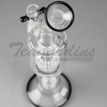 "Load image into Gallery viewer, Eagle Eye Glass - Stemless Double Chamber Straight Water Pipe - Black Decal - 5mm Thickness / 12"" Height"