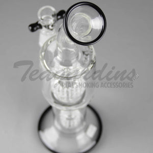 "Eagle Eye Glass - Stemless Double Chamber Straight Water Pipe - Black Decal - 5mm Thickness / 12"" Height"
