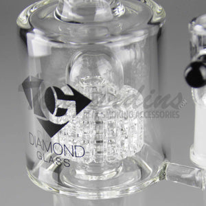 "Diamond Glass - Double Chamber Double Matrix Percolator Stemless Straight Water Pipe - Black Decal - 5mm Thickness / 12"" Height"