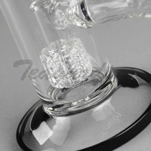 "Load image into Gallery viewer, Diamond Glass - Double Chamber Double Matrix Percolator Stemless Straight Water Pipe - Black Decal - 5mm Thickness / 12"" Height"