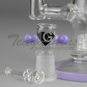 "Eagle Eye Glass 10"" Purple Stemless Double Chamber Oil Rig With Double Matrix Percolators"