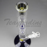 "Eagle Eye Glass - Double Chamber Straight Water Pipe - Blue Foot / Blue Perc - 5mm Thickness / 16"" Height"