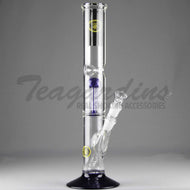 Eagle Eye Glass - Double Chamber Tree Percolator Diffuser Downstem Straight Water Pipe - Blue Foot / Blue Perc - 5mm Thickness / 16
