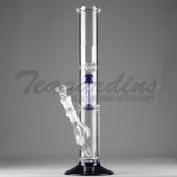 "Eagle Eye Glass 16"" Double Chamber Water Pipe With Blue Base and Percolator"