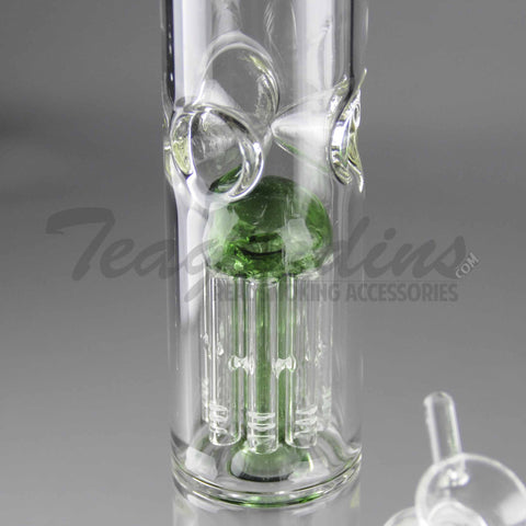 "Eagle Eye Glass - Double Chamber Tree Percolator Diffuser Downstem Straight Water Pipe - Green Base / Green Perc - 5mm Thickness / 16"" Height"