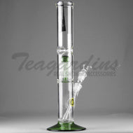 Eagle Eye Glass - Double Chamber Tree Percolator Diffuser Downstem Straight Water Pipe - Green Base / Green Perc - 5mm Thickness / 16