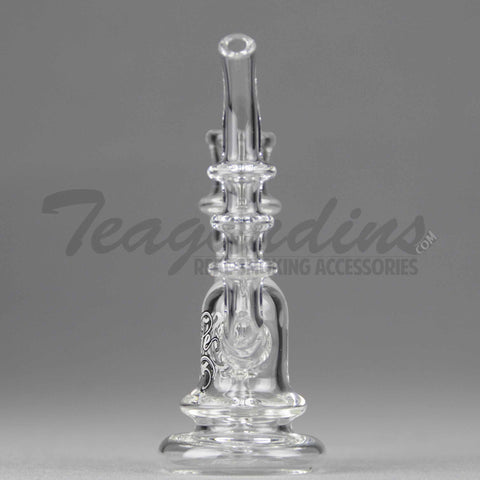 "Elite Glass - D.I. Mini Micro Bubbler - Titanium Nail Dab Rig - White Decal -  5mm Thickness / 4.5"" Height"