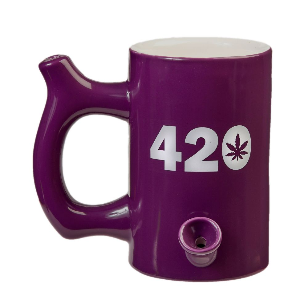 Fashioncraft - Hand Pipe Mug - Roast & Toast 420 Plum With White Design For Sale
