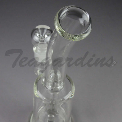 "Teagardin's Glass - Pyramind Percolator Stemless Straight Water Pipe - 5mm Thickness / 12"" Height"