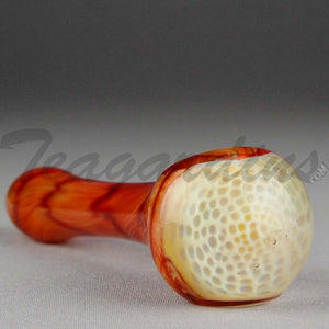 Teagardins - Glass Hand Pipe Ghost Honey Comb Red White