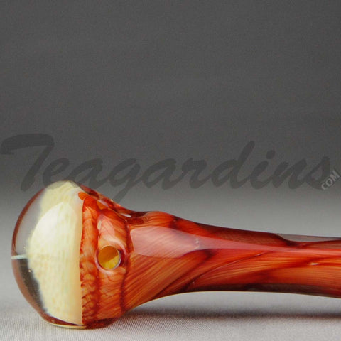 Teagardins - Glass Hand Pipe Ghost Honeycomb  Red White