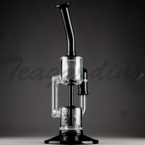 "Grav Glass - Recycler Diffuser Downstem Oil Rig - Black / Bear Design Decal - 4mm Thickness / 11"" Height"