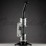Grav Glass - Bear Designed Inline Oil Rig Recycler Black Bubbler