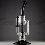 "Grav Glass - Recycler Diffuser Downstem Dab Rig - Black / Bear Design Decal - 4mm Thickness / 11"" Height"