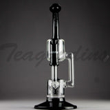 "Grav Glass - Recycler Dab Rig - Black / Bear Design Decal - 4mm Thickness / 11"" Height"