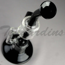 "Load image into Gallery viewer, Grav Glass - Recycler Diffuser Downstem Dab Rig - Black / Bear Design Decal - 4mm Thickness / 11"" Height"