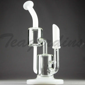 "Grav Glass - Offset Recycler Diffuser Downstem Dab Rig - White / Bear Design - 4mm Wall Thickness / 10"" Height"