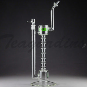 "Grav Glass - Upline Collabs - 6 Chamber Spine Stemless Straight Water Pipe - 4mm Thickness / 16"" Height"