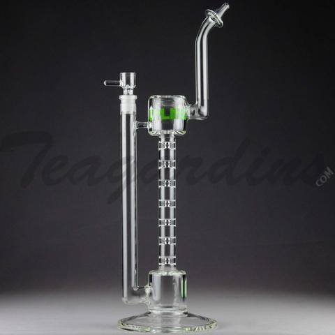 "Grav Glass - Upline Collabs - 6 Chamber Spine Stemless Straight Water Pipe - 4mm Thickness / 13"" Height"