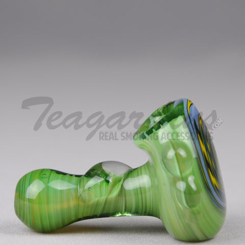 Teagardins - Green Glass Briar Pipe With Reversal on Head