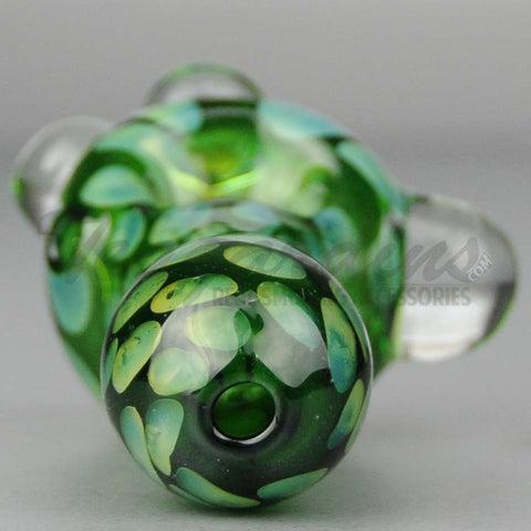 Teagardins - Green Glass Worked Spoon Hand Pipe 4""