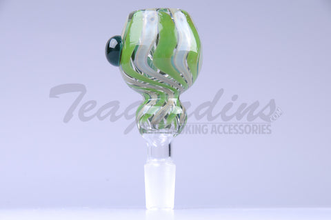 Green and Gray Twist  Glass on Glass 14mm Bowl