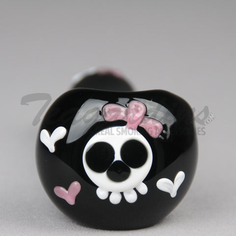 Greenlite Glass-Black Spoon With Skull and Bow on Head