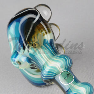 Greenlite Glass Fully Reversal Oil Worked Briar Style Pipes Hand Spoon Smoking