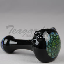 Load image into Gallery viewer, Greenlite Honeycap on Black Glass worked spoon hand pipe