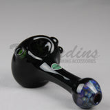 Greenlite Honeycap on Black Glass worked spoon hand pipe
