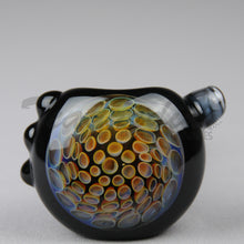 Load image into Gallery viewer, Greenlite Purple Color Honeycap on Black Glass worked spoon hand pipe