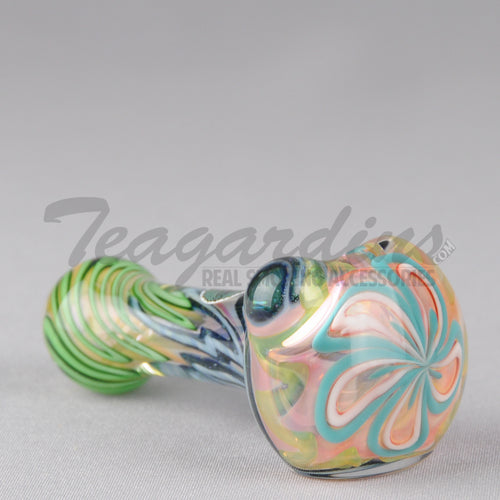 Greenlite Glass Spoon With Flower in Head Pipes Hand Spoon Smoking
