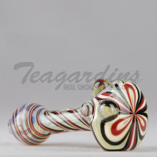 Load image into Gallery viewer, Greenlite Glass Spun Flower Spoon Red Black Pipes Hand Spoon Smoking