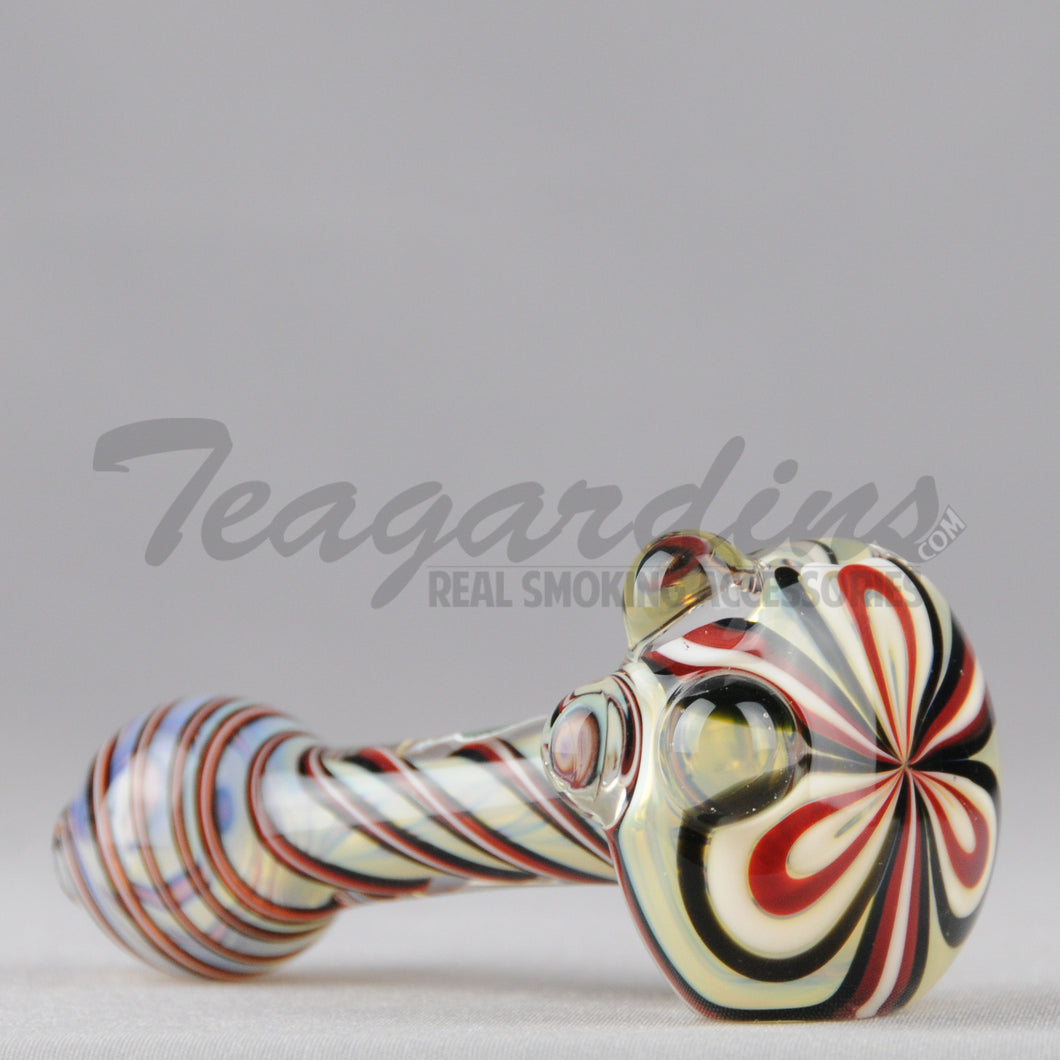 Greenlite Glass Spun Flower Spoon Red Black Pipes Hand Spoon Smoking