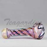Greenlite Glass Hand Pipes Glass Spoon Pipe Lavender With Flower in Head
