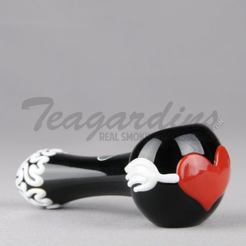 Greenlite Glass Hand Pipes Glass Spoon Pipe Tattood Heart Valentines