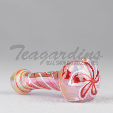 Greenlite Glass - Red Fumed Lavender Spoon With Flower in Head
