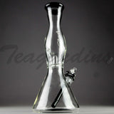 "Helix Glass - Double Chamber Beaker Water Pipe - Black Bottom / White Decal - 5mm Thickness / 10"" Height"