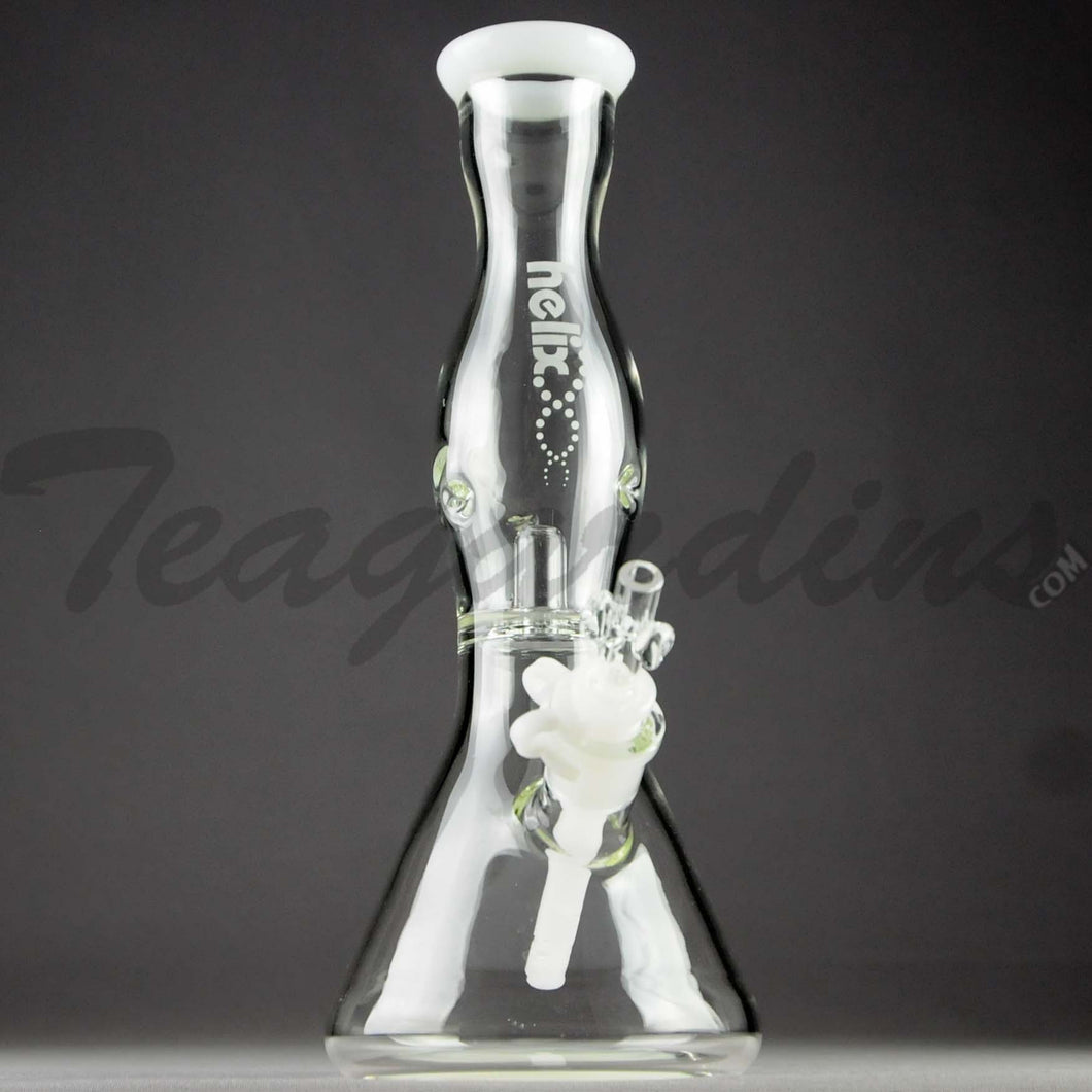 Helix Glass - Double Chamber Venturi Chamber Percolator Diffuser Downstem Beaker Water Pipe - White Decal - 5mm Thickness / 10