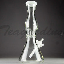 "Load image into Gallery viewer, Helix Glass - Double Chamber Venturi Chamber Percolator Diffuser Downstem Beaker Water Pipe - White Decal - 5mm Thickness / 10"" Height"