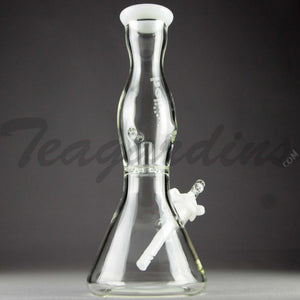 "Helix Glass - Double Chamber Venturi Chamber Percolator Diffuser Downstem Beaker Water Pipe - White Decal - 5mm Thickness / 10"" Height"