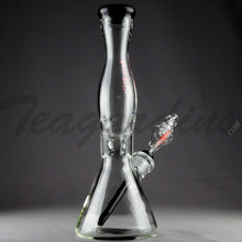 "Load image into Gallery viewer, Helix Glass - Double Chamber Beaker Water Pipe - Red Decal / Black Bottom - 5mm Wall Thickness / 14"" Height"