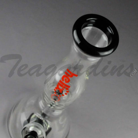 "Helix Glass - D.I. Double Chamber Venturi Chamber Percolator Beaker Water Pipe - Red Decal / Black Bottom - 5mm Thickness / 14"" Height"