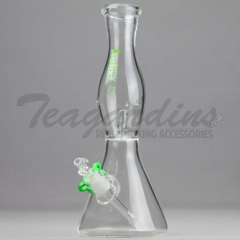 "Helix Glass - D.I. Double Chamber Venturi Chamber Percolator Diffuser Downstem Beaker Water Pipe - Green Decal - 5mm Thickness / 10"" Height"