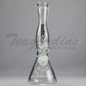 "Helix Glass - D.I. Double Chamber Venturi Chamber Percolator Diffuser Downstem Beaker Water Pipe - Black Decal - 5mm Thickness / 14"" Height"