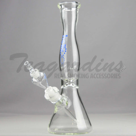 "Helix Glass - D.I. Double Chamber Venturi Chamber Percolator Diffuser Downstem Beaker Water Pipe - Blue Decal - 5mm Thickness / 14"" Height"
