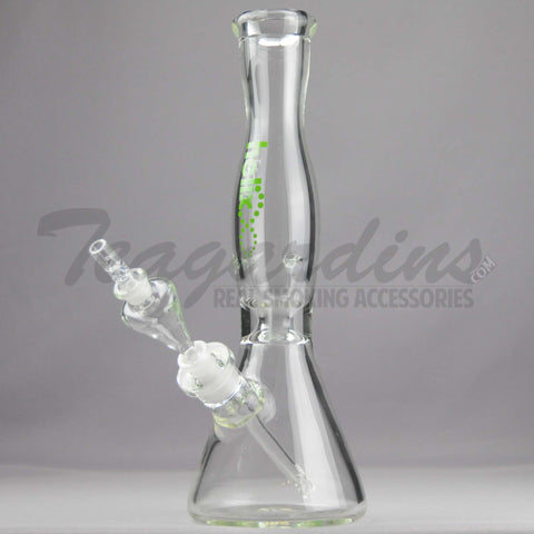 "Helix Glass - Double Chamber Venturi Chamber Percolator Diffuser Downstem Beaker Water Pipe - Green Decal - 5mm Thickness / 14"" Height"
