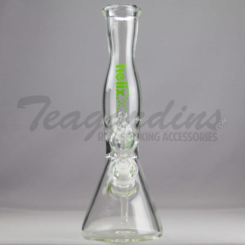 "Helix Glass - D.I. Double Chamber Venturi Chamber Percolator Diffuser Downstem Beaker Water Pipe - Green Decal - 5mm Thickness / 14"" Height"