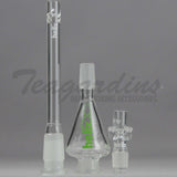 "Helix Glass - Double Chamber Beaker Water Pipe - Green Decal - 5mm Thickness / 18"" Height Helix Glass - Double Chamber Venturi Chamber Percolator Beaker Water Pipe - Green Decal - 5mm Thickness / 18"" Height"