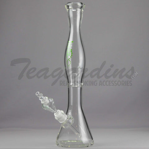 "Helix Glass - Double Chamber Venturi Chamber Percolator Beaker Water Pipe - Green Decal - 5mm Thickness / 18"" Height"